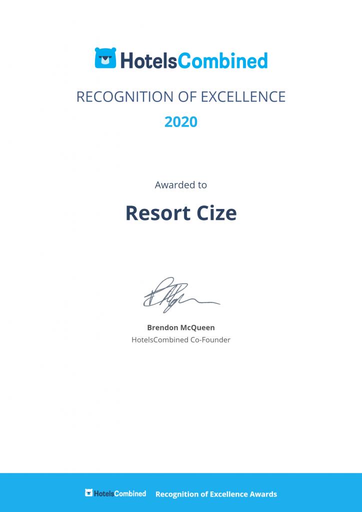 RESORT ČIŽE | 2020 Recognition of Excellence HotelsCombined | 2021